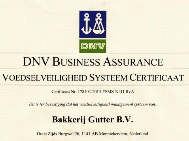 FSSC 22000 certificaat Bakkerij Kees Gutter