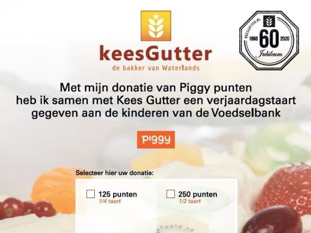 Piggy spaaractie slagroomtaart voedselbank