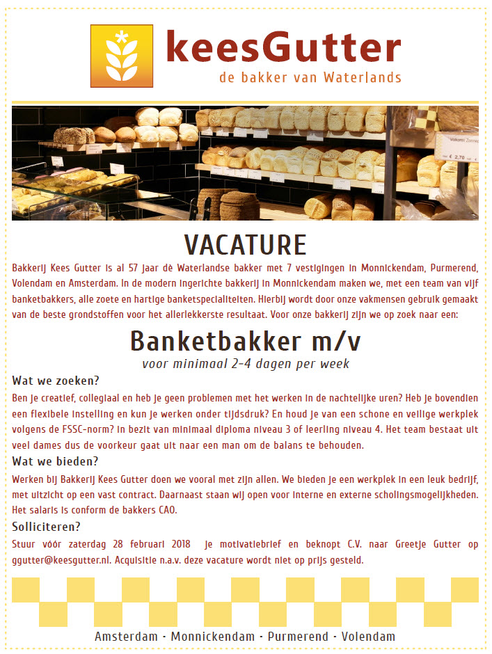 Vacature_Banketbakker_Kees Gutter